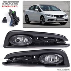 FIT FOR 2013 2014 2015 HONDA CIVIC CLEAR BUMPER LIGHTS DRIVING FOG LAMPSSWITCH