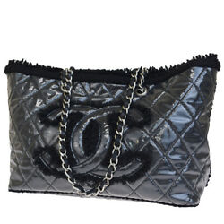 Auth CHANEL Quilted Chain Tote Shoulder Bag Vinyl Pile Leather France 16BJ362