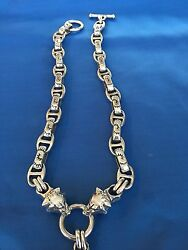 GOTHIC BIKER 3 GRIZZLY BEAR HEADS NECKLACE STERLING SILVER 270 GRAMS