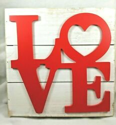Love Word Script Heart Hanging Wood Plaque Wall Sign Rustic Room Decor 12x12x1.5 $24.99