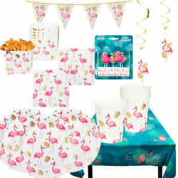 Flamingo Pineapple Birthday Party Tropical Girls Decorations Summer Tableware GBP 2.99