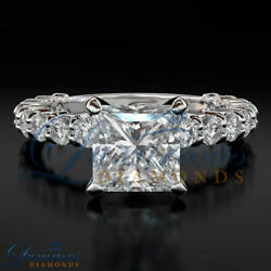 3.00 Carat Women Diamond Ring Solitaire With Accents Princess Cut White Gold