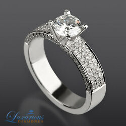 2.70 Carat Women Diamond Ring Solitaire With Accents Round Cut White Gold