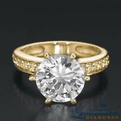 Accented Diamond Engagement Ring 2.45 Carat F SI Round Cut Yellow Gold