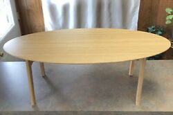 Portable Folding Foldable Oval Wood Wooden Table 39.25