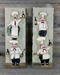 Italian Chefs Wine By Joy Alldredge Set Of 2 Hanging Plaques Tiles 3.25quot; X 9.5quot; $19.99