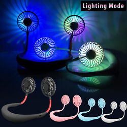 Portable Rechargeable Neckband Neck Hanging Dual Cooling Mini Fan Personal LED $17.97