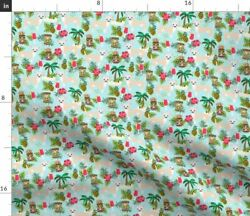 Small Island Dogs Exotic Pets Summer Pineapple Fabric Printed by Spoonflower BTY