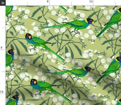 Birds Exotic Animal Tropical Jungle Trees Fabric Printed by Spoonflower BTY