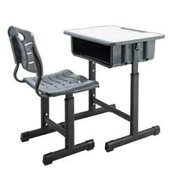 US Adjustable Student Children Density Board Desk&Chairs Set With backrest Black