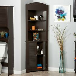 Brown Corner Linen Tower Bathroom Towel Storage Cabinet Tall Wood Spacesaver
