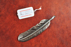 GORO'S 925 Silver XL Extra Large Size Feather Pendant #32773