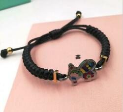 Woman Stainless Steel Epoxy Colored Teddy Bear Bangle Weave Braided Fashion