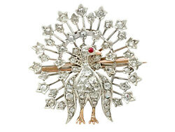 Victorian 2.35ct Diamond and Ruby 9k Yellow Gold Peacock Brooch