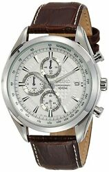 Seiko Chronograph SSB181 Silver Tone Dial Brown Leather Band Men's Watch $110.58