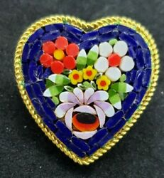 Vintage Jewelry Micro Mosaic Flower Heart Brooch Pin Marked ITALY