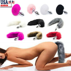 Funny Beginner Fox Rabbit Faux Tail Plug Butt Stopper Anal Slicone Adult Toy