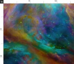 Hubble Rainbow Galaxy Celestial Stars Sky Fabric Printed by Spoonflower BTY