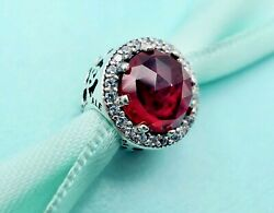 Authentic Pandora Silver Charm Radiant Hearts Cerise Red Crystal 791725 #jj