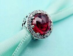 Authentic Pandora Silver Charm Radiant Hearts Cerise Red Crystal 791725 #h3
