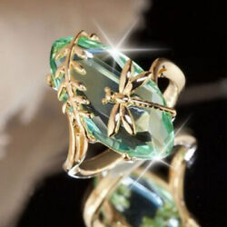 Fine Women Gold Plated Dragonfly Peridot Ring Wedding Jewelry Gift Size 6-10