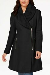 INC International Concepts Faux-Fur-Trim Asymmetrical Walker Coat Black XS NWT!