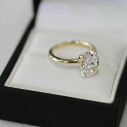 2ct Oval Cut VVS1 Diamond Solitaire Engagement Wedding Ring 14k Yellow Gold Over