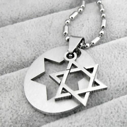 JN_ Silver Style Star (Magen) of David - Israel Jewish Rock Necklace Pendant L