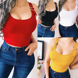 US Women Ladies Stretchy Vest Crop Top Summer Casual Strap Cami Basic Tee Blouse