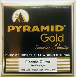 Pyramid Gold Chrome Nickel Flat Wound Electric Guitar Strings gauges 13-56