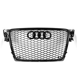 BLACK FRONT MESH RS4 STYLE BUMPER HOOD HEX GRILLE FOR 2009-2012 AUDI A4S4 B8 8T