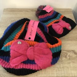 BETSEY JOHNSON Infinity Knit Scarf & Beanie Hat Pink Bow GIFT SET NWT