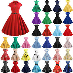 Womens 50s 60s Vintage Rockabilly Floral Housewife Hepburn Swing Skater Dress
