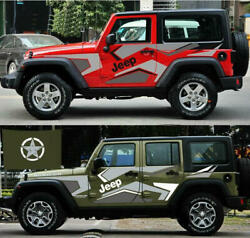 Graphics Camouflage Stripe Sticker Bonnet Star Decal For Jeep Wrangler Compass