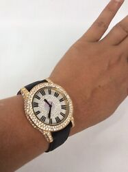 Stunning  Victoria Wieck  Gold Tone Crystal Stainless Steel  Leather watch