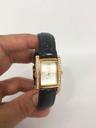 Stunning JBK Katherine  Kennedy Gold Tone Crystal Stainless Steel  Leather watch