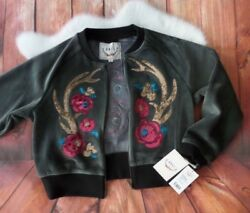 NWT Boundless North Womens Floral Applique Lotus Bomber Jacket Charcoal size M $120.00