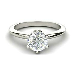 Diamond Engagement Ring 1 Carat Round Cut Solitaire SI1 D White Gold 14k