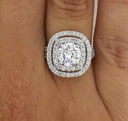 4 Carat Double Halo Round Cut Diamond Engagement Ring SI1D White Gold 14k