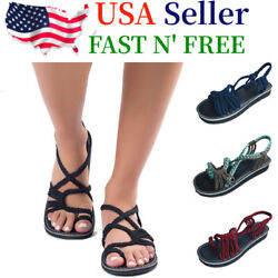 Bohemian Flat Flip Flops Bandages Beach Shoes Summer Casual Sandals Womens US  $12.39