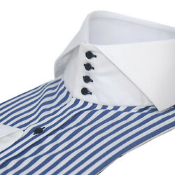 Mens High collar shirts Navy Blue stripes Bankers White Italian collar for Gents EUR 90.00