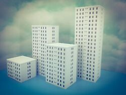 5 Floor OFFICE city LUXURY APARTMENT Building N Scale 1:160 Fully Assembled $48.83