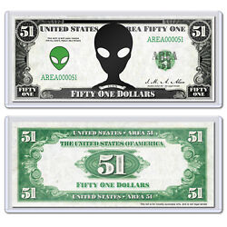 Area 51 2019 Alien Funny Money Novelty Meme Collectible Dollar with Case $3.99
