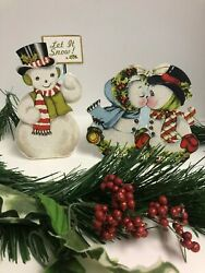 Bethany Lowe Retro Snowmen Dummy Boards RL5790: Sold as a Set of 2