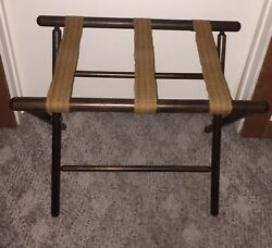 Vintage Wood Luggage Rack Suitcase Stand Folding Hotel Style Butler 3 Straps