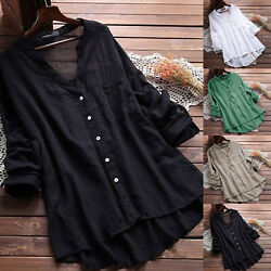 Plus Size Womens Loose V Neck Long Sleeve Blouse Top Summer Tunic Casual T-shirt $14.43
