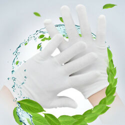 White Cotton Gloves Liners Moisturising Eczema Butler Beauty Magician 6 Pairs US