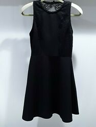 Miami womens size L sleeveless black dress with lace trim & collar fitted waist  $30.00