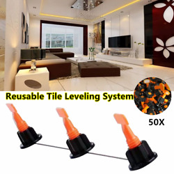 Flat Ceramic Floor Wall Construction Tools Reusable Tile Leveling System Kit 50X $17.91