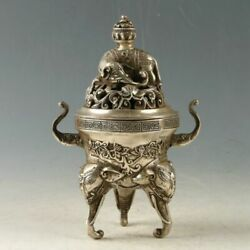Chinese Tibetan Silver copper hand carved elephant hollowed Incense Burner